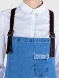 Distressed denim apron detail