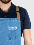 Distressed denim apron with cross back straps detail