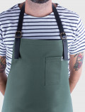 Waiter uniform green apron detail