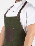 Barista green apron leather pocket