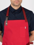 Red chef's apron detail