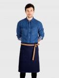 Mandil francés azul con cintas marrones
