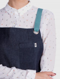 Denim apron with mint ribbons