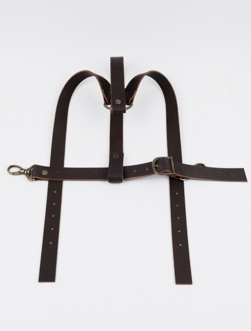Brown leather harness Y