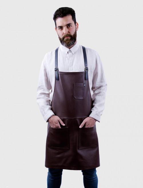 Delantal Bartender de Piel Marrón