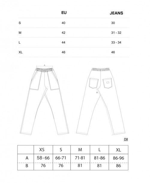 Sizing Pantaloni Originali da Chef - Sabbia