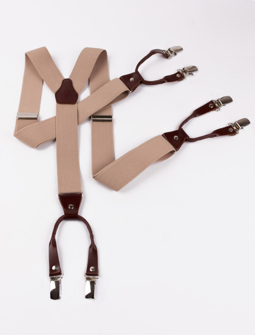 Beige and Brown Leather Suspenders